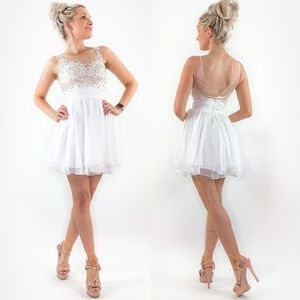 White Cocktail Homecoming Wedding Party Dress
